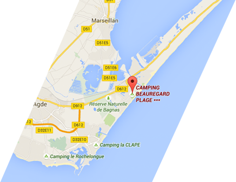 Map of Marseillan-Plage
